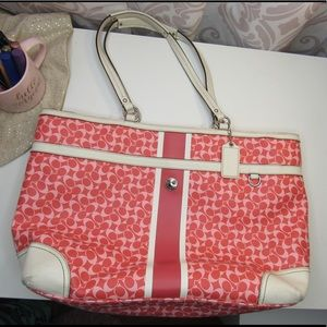 Two-toned pink Coach laptop/diaper bag